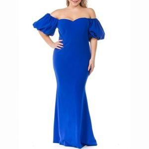 Plus Size Curvy (2X,3X) Blue Boutique Formal Gown